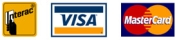 Interac, Visa and Mastercard logos